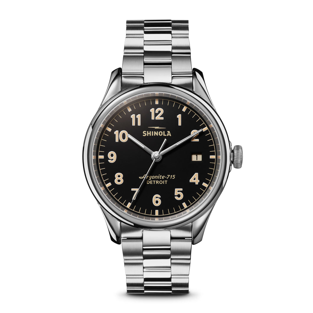 Shinola The Vinton 38mm Black Dial Ladies Stainless Steel Watch - S0120141278