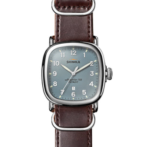 Shinola The Guardian Slate Blue Dial Browm Leather Strap 41.5mm Men's Watch - S0120029581