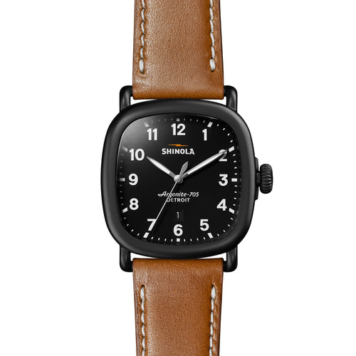 Shinola The Guardian Tan Leather Black Dial 41mm Mens Watch - S0120089896