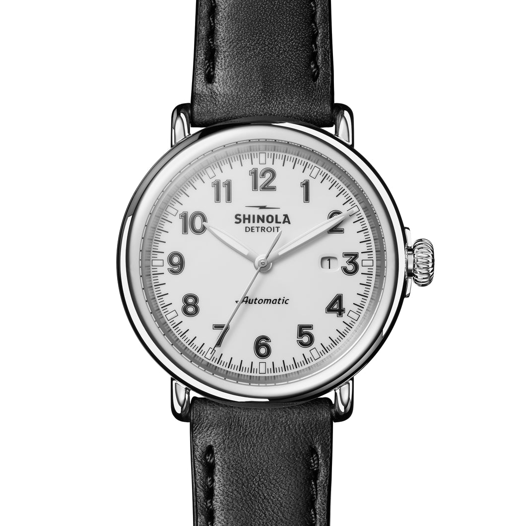 Shinola The Runwell Automatic White Dial Black Leather Strap Men's 45mm Watch - S0120141491