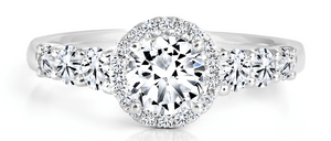 FOREVERMARK Black Label 1 ct. tw. Round Brilliant Engagement Ring with Halo in 18K White Gold -FMR00062/50BLRB