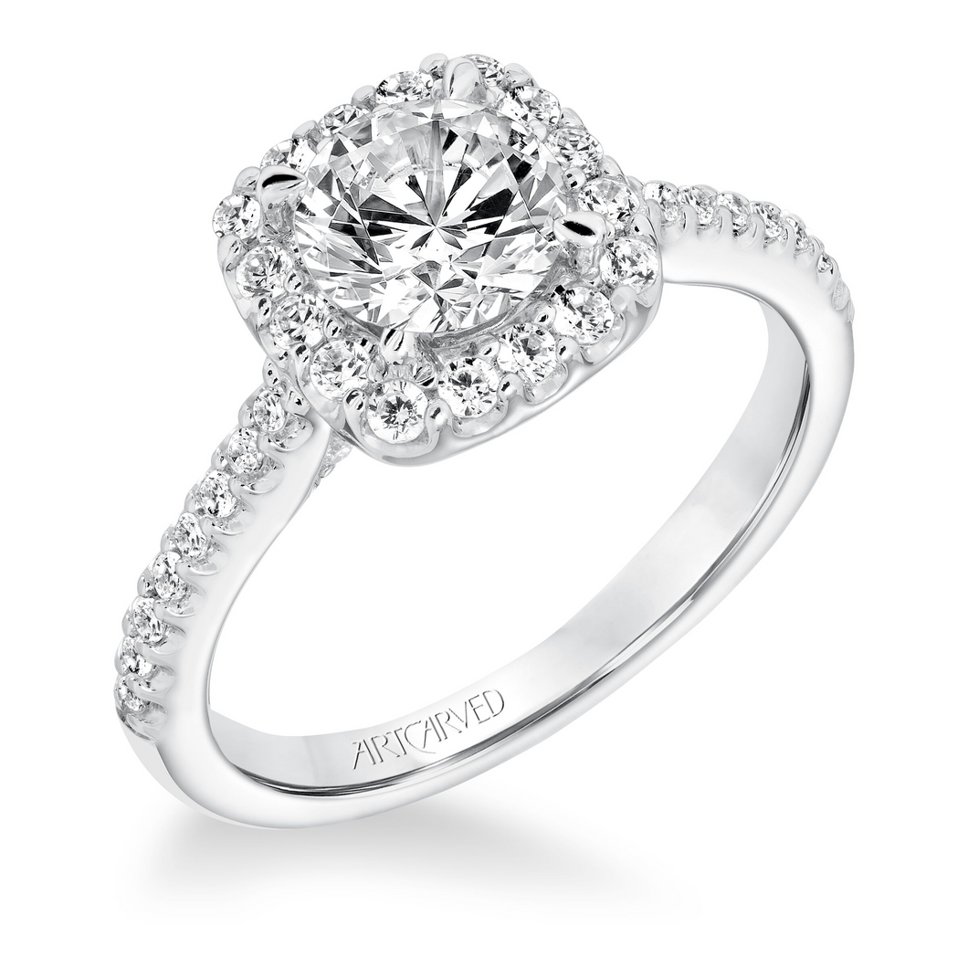 ArtCarved 1/2 ct. tw. Diamond Halo Round Stone Semi-Mount Engagement Ring in 14K White Gold - 31-V644DRW-E.00-14KW