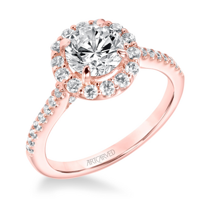 ArtCarved 1/2 ct. tw. Diamond Halo Accented Round Stone Semi-Mount Engagement Ring with Diamond Criss-Cross Undercarriage in 14K Pink Gold - 31-V735DR