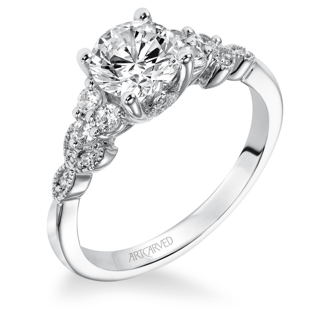 ArtCarved 1/5 ct. tw. Diamond Accented Round Stone Semi-Mount Engagement Ring with Milgrain Detailed Band in 14K White Gold -31-V309DRW-E.01