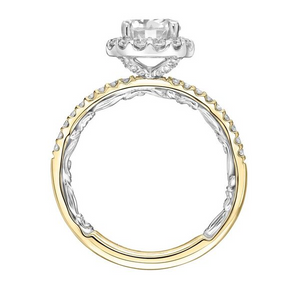 ArtCarved 1/2 ct. tw. Diamond Halo Accented Round Stone Semi-Mount Engagement Ring with Carved Detailed Band in 14K Two-Tone Gold - 31-V925DRYW