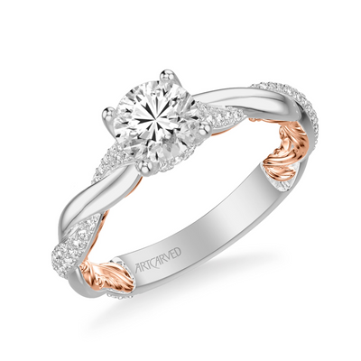 ArtCarved 1/4 ct. tw. Diamond Accented Round Stone Semi-Mount Engagement Ring with Twist & Carved Band in 14K White & Pink Gold - 31-V920ERWR-E.0