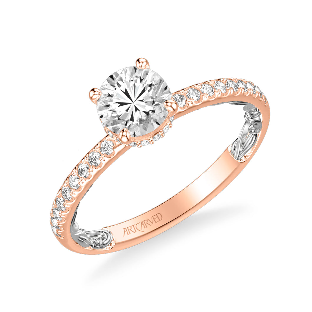 ArtCarved 1/4 ct. tw. Diamond Semi-Mount Engagement Ring with Hidden Halo & Carved Filigree Inspired Band in 14K Pink & White Gold - 31-V964ERRW-E.0