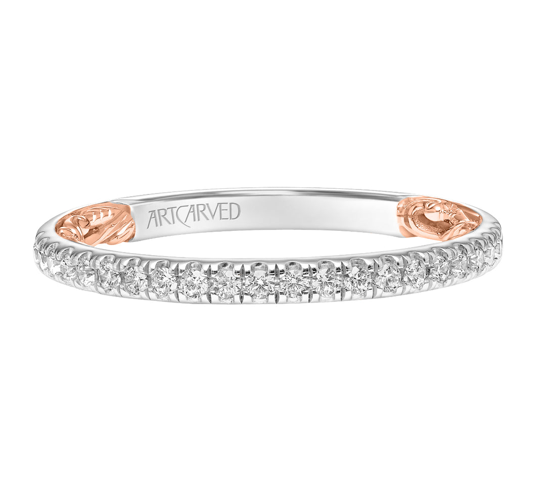 ArtCarved 1/4 ct. tw. Classic Diamond Wedding Band with Carved Detailing in 14K Two-Tone Gold - 31-V964RW-L.00