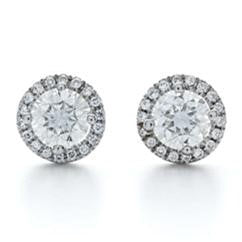 FOREVERMARK 1 ct. tw. Round Brilliant Diamond Halo Earrings in 18K White Gold - EFMHR6DWG
