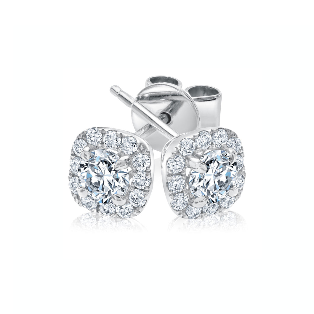 FOREVERMARK 1/2 ct. tw. Round Brilliant Diamond Square Halo Earrings in 18K White Gold - EFMK006D18K