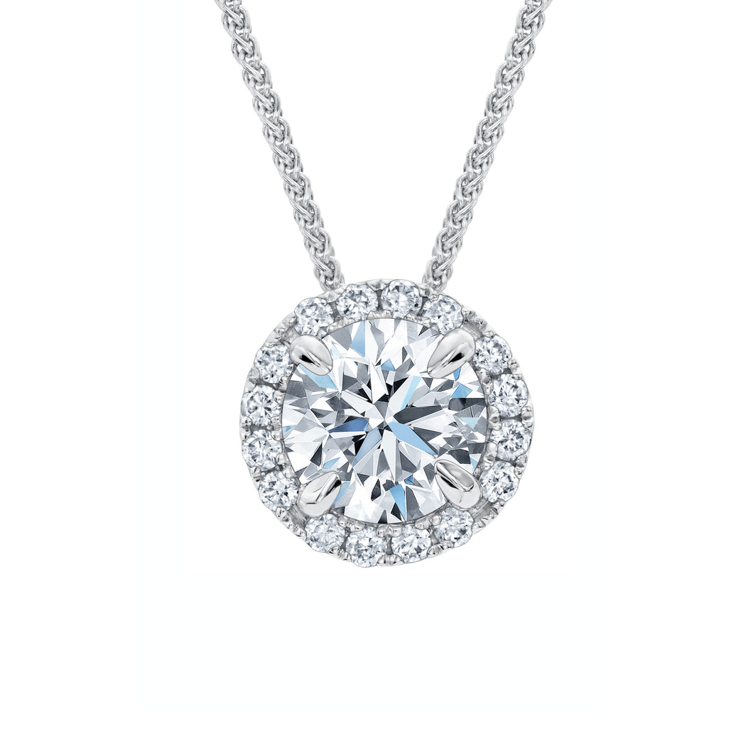 FOREVERMARK 1/3 ct. tw. Round Brilliant Diamond Halo Sliding Pendant in 18K White Gold - NFMG019D