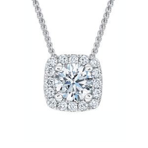FOREVERMARK 5/8 ct. tw. Round Brilliant Diamond Square Halo Sliding Pendant in 18K White Gold - NFMK109D