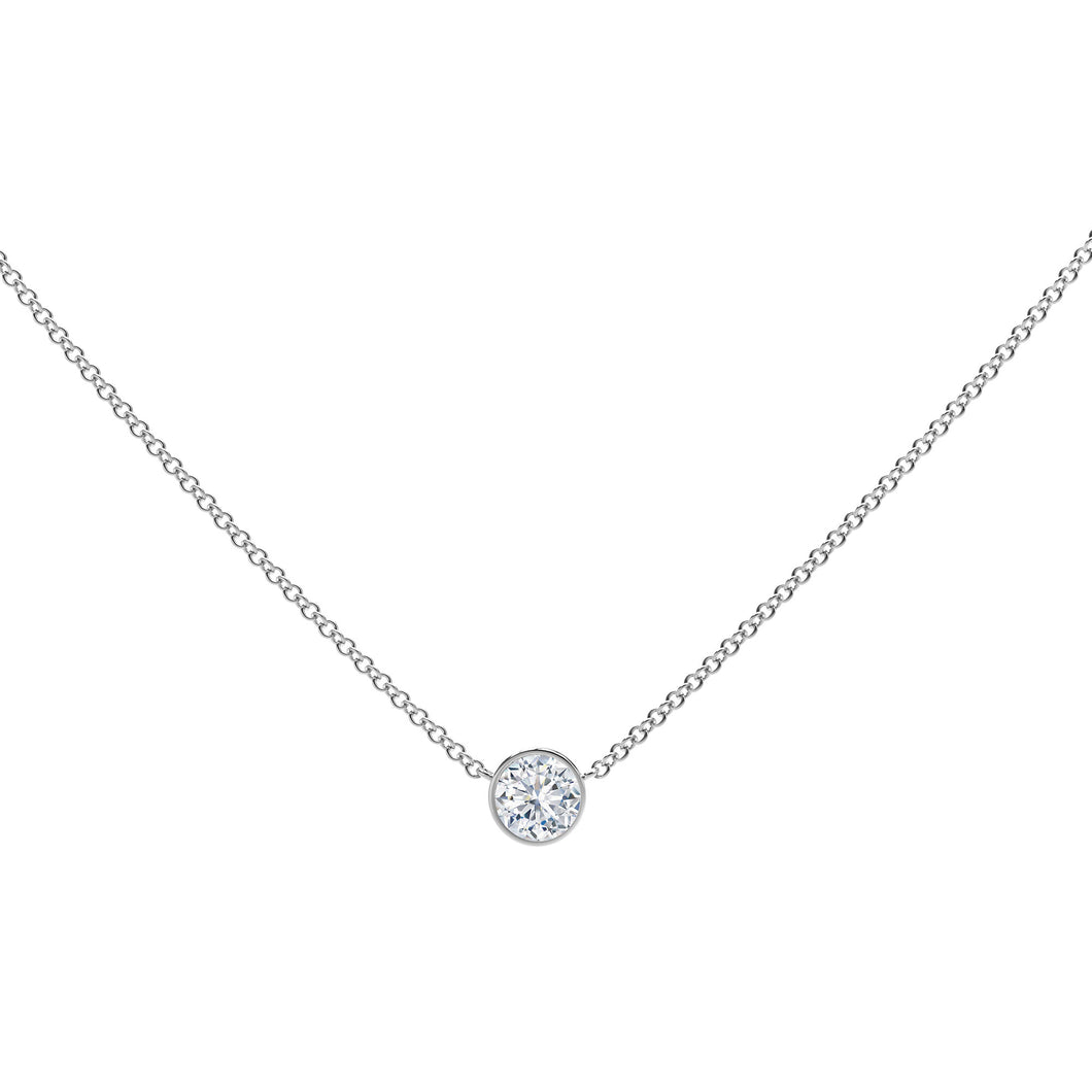 FOREVERMARK 1/3 ct. tw. Round Brilliant Bezel Set Diamond Necklace in 18K White Gold - NFMT2000W