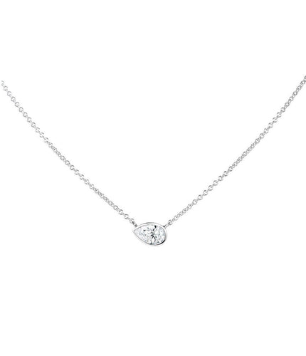 FOREVERMARK  1/3 ct. tw. Sideways Pear-Shaped Diamond Bezel Necklace in 18K White Gold - NFMT2010,33-18W
