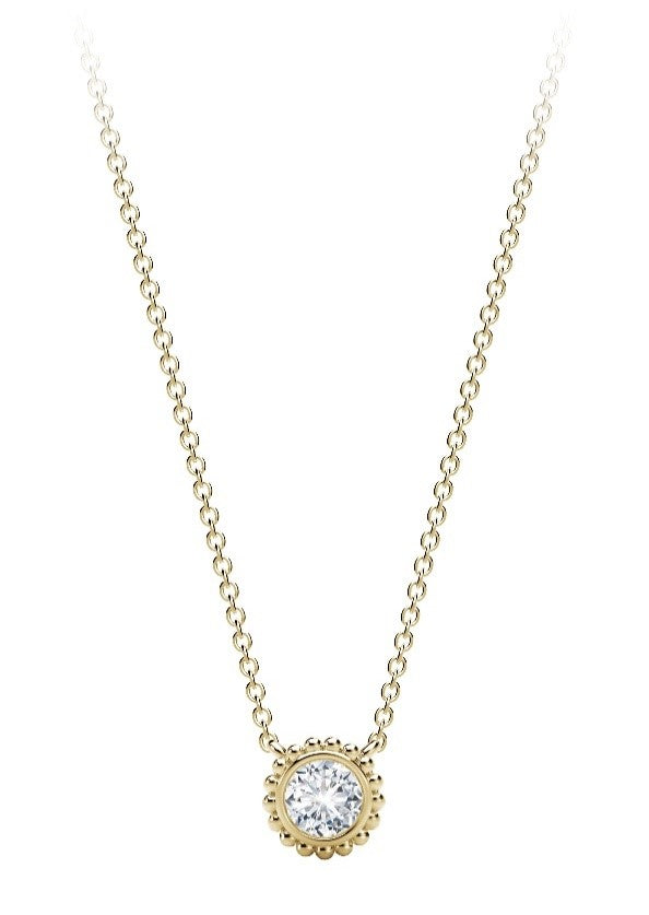 FOREVERMARK  1/4 ct. tw. Round Brilliant Bezel Set Diamond Necklace with Large Milgrain Halo in 18K Yellow Gold -NFMT2050Y