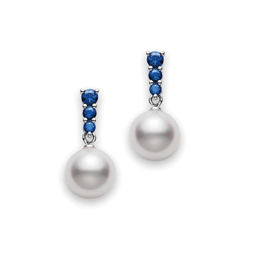 Mikimoto Akoya Pearl Stud Earrings 8mm A Quality with Genuine Sapphires in 18k White Gold
