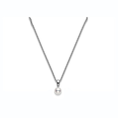 Mikimoto Akoya Pearl Stud Pendant 6-6.5mm A+ Quality in 18k White Gold
