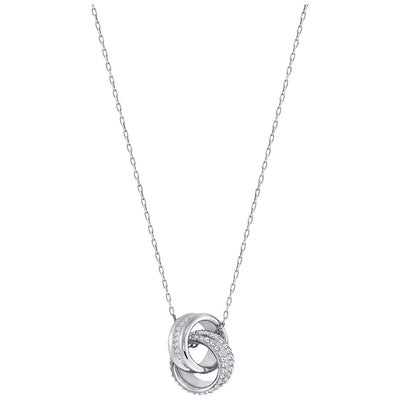 SWAROVSKI 'Further' White Crystal Intertwined Circle Design Necklace in Rhodium Plating - 5240524