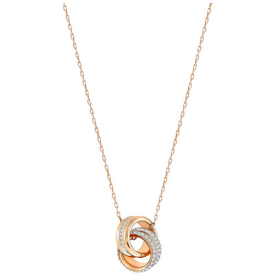 SWAROVSKI 'Further' White Crystal Intertwined Circle Design Necklace in Rose-Gold Tone Plating - 5240525