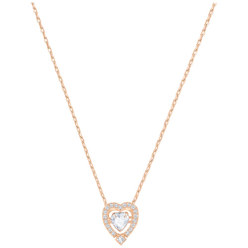 SWAROVSKI 'Sparkling Dance' Heart-Shaped White Crystal Necklace in Rose-Gold Tone Plating - 5284188
