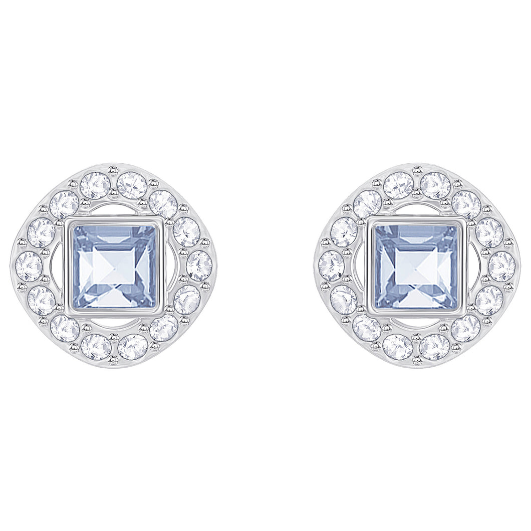 SWAROVSKI 'Angelic Square' Blue Crystal Halo Earrings in Rhodium Plating - 5352048