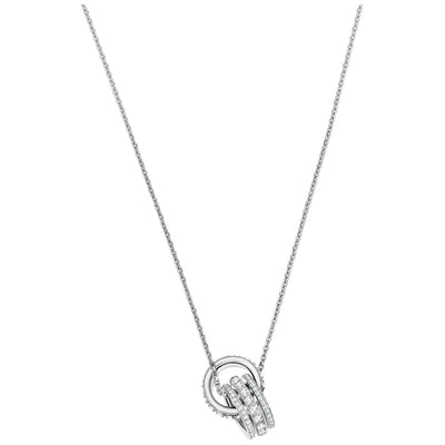 SWAROVSKI 'Further' White Crystal Interlocking Hoop Design Necklace in Rhodium Plating - 5409696