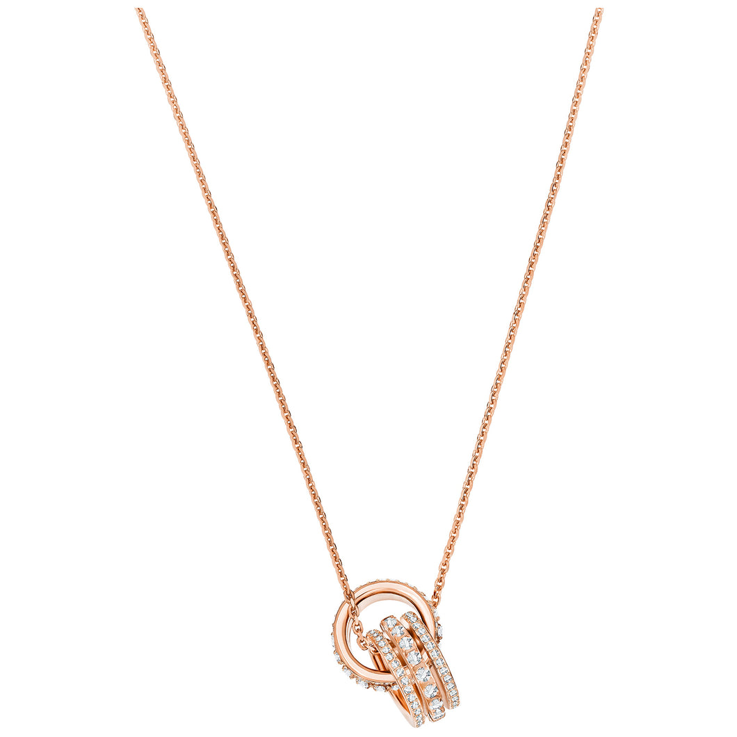 SWAROVSKI 'Further' White Crystal Interlocking Hoop Design Necklace in Rose-Gold Tone Plating - 5419853