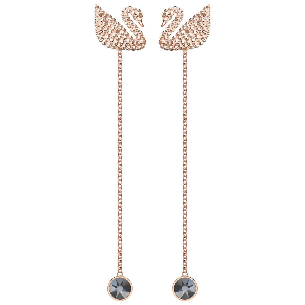 SWAROVSKI 'Iconic Swan' Long Brown & Black Crystal Earrings in Rose-Gold Tone Plating - 5373164