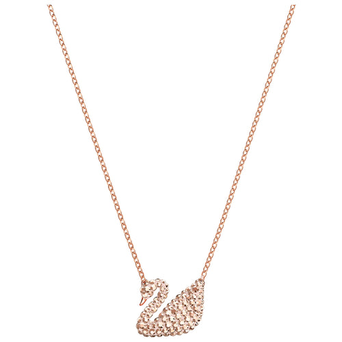 SWAROVSKI 'Iconic Swan' Brown Crystal Necklace in Rose-Gold Tone Plating - 5368988