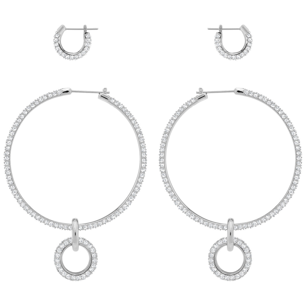 SWAROVSKI 'Stone' White Crystal Hoop Earring Set in Rhodium Plating - 5437971