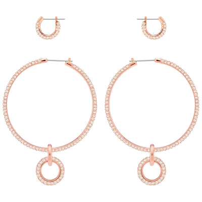 SWAROVSKI 'Stone' White Crystal Hoop Earring Set in Rose-Gold Tone Plating - 5426004