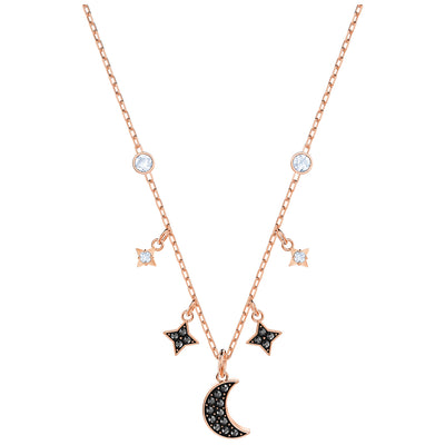 SWAROVSKI 'Symbolic' Black & White Crystal Moon Necklace in Rose-Gold Tone Plating - 5429737