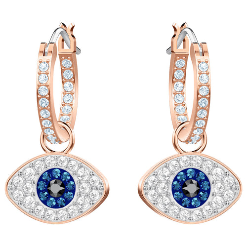 SWAROVSKI 'Symbolic' Multi-Colored Crystal Evil Eye Earrings in Rose-Gold Tone Plating - 5425857