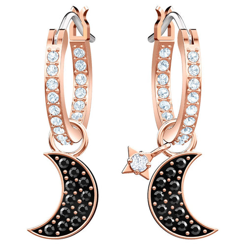 SWAROVSKI 'Symbolic' Black & White Crystal Moon Hoop Earrings  in Rose-Gold Tone Plating -5440458