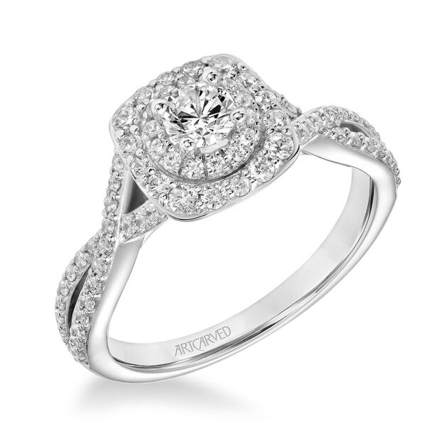 ArtCarved One Love Collection 1/4 ct. Round Brilliant Diamond Engagement Ring with 1/2 ct. Double Halo & Twist Band in 14K White Gold - 31-V880XRW