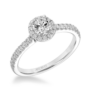 ArtCarved One Love Collection 3/8 ct. Round Brilliant Diamond Engagement Ring with 1/3 ct. Halo & Band in 14K White Gold - 31-V324BRW-E.00