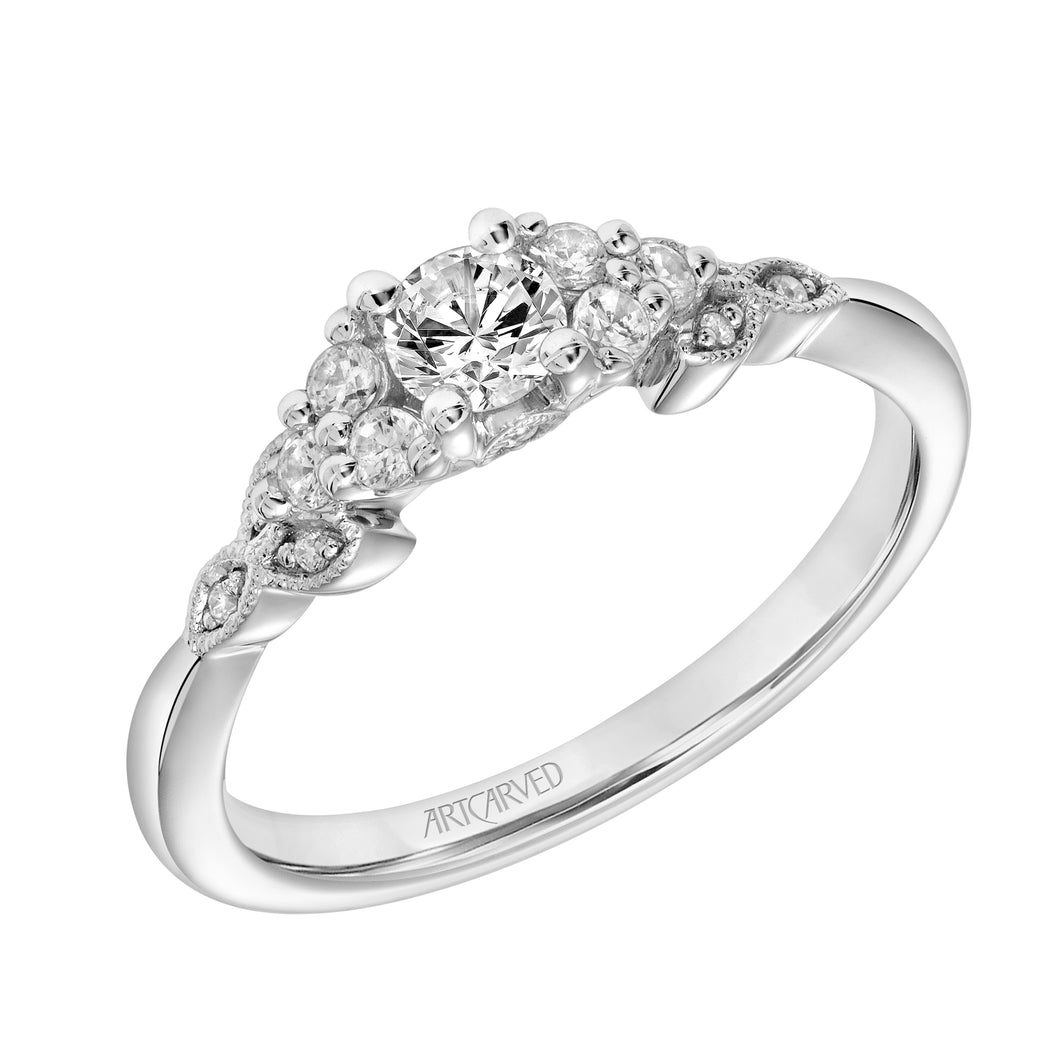 ArtCarved One Love Collection 1/4 ct. Round Brilliant Diamond Engagement Ring with 1/5 ct. Diamond Floral Inspired Band in 14K White Gold - 31-V309XRW-E.00