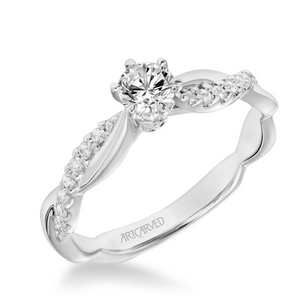 ArtCarved One Love Collection 1/3 ct. Round Brilliant Diamond Engagement Ring with 1/7 ct. Diamond Twist Band in 14K White Gold - 31-V659ARW-E.00