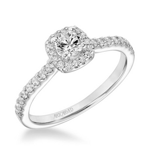 ArtCarved One Love Collection 1/3 ct. Round Brilliant Diamond Engagement Ring with 1/3 ct. Square Shaped Diamond Halo & Band in 14K White Gold - 31-V867ARW-E.00