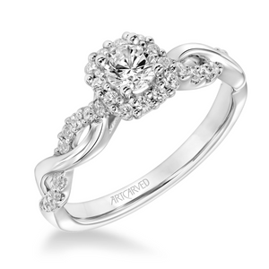 ArtCarved One Love Collection 1/3 ct. Round Brilliant Diamond Engagement Ring with 1/3 ct. Square Shaped Diamond Halo & Twist Band in 14K White Gold - 31-V320ARW-E.00