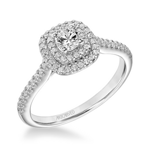 ArtCarved One Love Collection 1/3 ct. Round Brilliant Diamond Engagement Ring with 1/4 ct. Diamond Double Halo & Band in 14K White Gold - 31-V608XRW-E.00