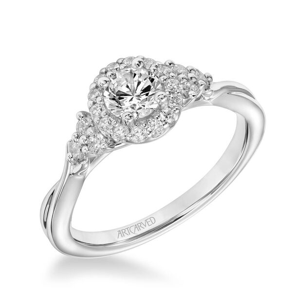 ArtCarved One Love Collection 3/8 ct. Round Brilliant Diamond Engagement Ring with 1/4 ct. Diamond Halo & Trio Accented Band in 14K White Gold - 31-V876BRW-E.00