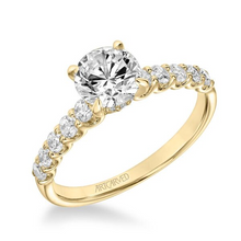 ArtCarved 1/2 ct. tw. Round Diamond Semi-Mount Engagement Ring with Scalloped Set Band in 14K Yellow Gold - 31-V875ERY-E.01