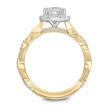 ArtCarved 1/3 ct. tw. Diamond Semi-Mount Engagement Ring with Square Shaped Halo & Twist Band in 14K Yellow & White Gold - 31-V872DRYW-E.00