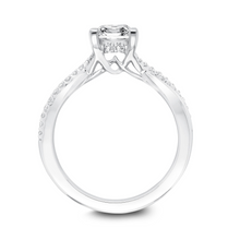 ArtCarved 1/7 ct. tw. Diamond Accented Princess Semi-Mount Engagement Ring with Twisted Shank in 14K White Gold - 31-V671-ECW-E.01