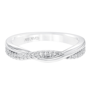 ArtCarved 1/8 ct. tw. Simple Twist Diamond Wedding Band in 14K White Gold - 31-V671-L
