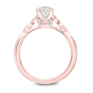 ArtCarved .06 ct. tw. Diamond Accented Oval Center Semi-Mount Engagement Ring with Floral Inspired Band in 14K Pink Gold - 31-V899EVR-E.00