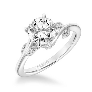 ArtCarved 1/10 ct. tw. Diamond Accented Round Center Semi-Mount Engagement Ring with Wrapped Vine Inspired Band in 14K White Gold - 31-V783ERW-E.00