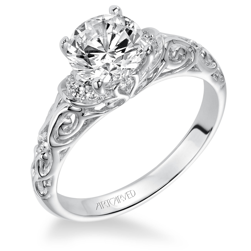 ArtCarved 1/8 ct. tw. Diamond Accented Round Center Semi-Mount Engagement Ring with Carved Band in 14K White Gold - 31-V284ERW-E.00