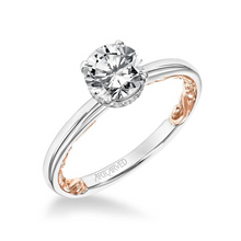 ArtCarved .05 ct. tw. Diamond Hidden Halo Round Center Semi-Mount Engagement Ring with Carved Band Accent in 14K Two-Tone Gold -31-V915GRWR-E.00